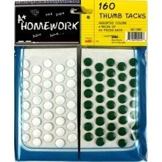 48 Units of Thumb Tacks 160 pk 80 white+40 red+40 green - Push Pins and Tacks