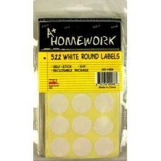 "48 Units of White Round Labels - 522 pack - 3/4"" each - Labels ,Cards and Index Cards"