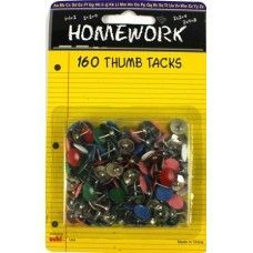 48 Units of Thumb Tacks - 160 pk - Asst. Colors - Carded - Push Pins and Tacks