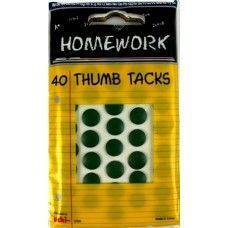 48 Units of Thumb Tacks - 40 ct. - Green - Carded - Push Pins and Tacks