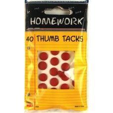 48 Units of Thumb Tacks - 40 ct. - Red - Carded - Push Pins and Tacks