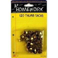 48 Units of Thumb Tacks - 120 pk - Gold Color - Carded - Push Pins and Tacks