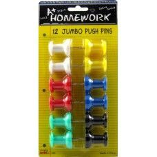 48 Units of Jumbo Push Pins - 12 ct - assorted colors - carded. - Push Pins and Tacks