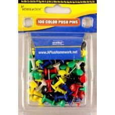 48 Units of Push Pins - Assorted colors - 100 count - clamshel package. - Push Pins and Tacks