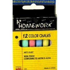 "48 Units of Chalk - Asst. Colors - 12pk - 3"" sticks - Boxed - Chalk,Chalkboards,Crayons"