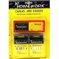 96 Units of Chalks ( 12 White + 12 Colors ) + Chalk Eraser - Chalk,Chalkboards,Crayons