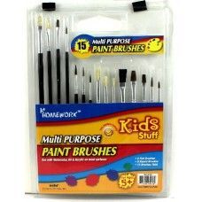 96 Units of Paint Brushes - 15 count - assorted sizes - Paint, Brushes & Finger Paint