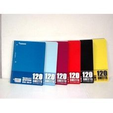 """24 Units of Wire Notebook - 120 sh - 10.5"""" x 8"""" - WR - 3 Subject - Notebooks"""