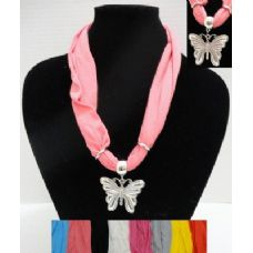 """72 Units of 30"""" Scarf Necklace with Butterfly - Womens Fashion Scarves"""