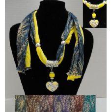 "36 Units of 62"" Leopard Print Scarf Necklace w/ Rhinestone Heart - Womens Fashion Scarves"