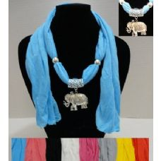 """72 Units of 64"""" Scarf Necklace with Elephant - Womens Fashion Scarves"""