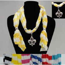 """36 Units of 64"""" Striped Scarf Necklace-Fleur de Lis - Womens Fashion Scarves"""