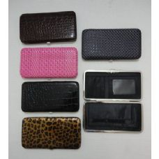 72 Units of  Ladies Flat Wallet with Push Button Clasp [Assorted] - Wallets & Handbags