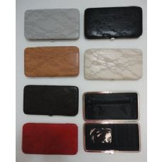 72 Units of Ladies Flat Wallet with Push Button Clasp [Lacy Look] - Wallets & Handbags