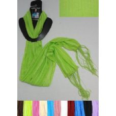 72 Units of Sheer Scarf with Fringe-Pinstripes - Womens Fashion Scarves