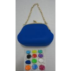 72 Units of  Silicone Change Purse with Chain - Leather Purses and Handbags