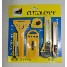 144 Units of 6PC Utility Knife Set [Snap -Off Blade] - Hardware > Shop Equipment