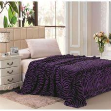16 Units of Purple Zebra Print Micro Plush Blanket TWIN SIZE - Fleece & Sherpa Blankets
