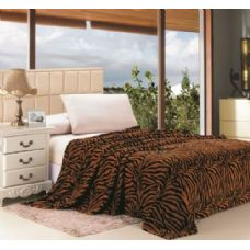 16 Units of Brown Zebra Print Micro Plush Blanket QUEEN SIZE - Fleece & Sherpa Blankets