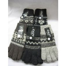48 Units of Mens Wool Glove With Snow Flake Pattern - Winter Gloves