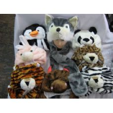 48 Units of Long Winter Animal Hat With Hand Warmer - Winter Animal Hats