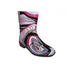 24 Units of Lady Mid Abstract Wave Rainboot - Womens Boots