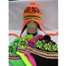120 Units of Neon Helmet Hat With Snow Flake Design - Winter Helmet Hats
