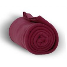 24 Units of Fleece Blankets in Burgundy