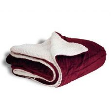 12 Units of Micro Mink Sherpa Blankets in Burgundy - Micro Mink Sherpa Blankets