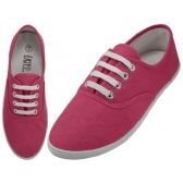 24 Units of Ladies Canvas Shoes Fuchsia Purple - Womens Sneakers
