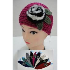 60 Units of  Hand Knitted Ear Band--Fur Flower - Ear Warmers