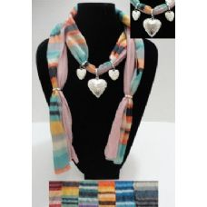 72 Units of Printed Scarf Necklace-Triple Heart Charms - Womens Fashion Scarves