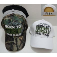 24 Units of BORN TO FISH-FORCED TO WORK Hat - Hunting Caps