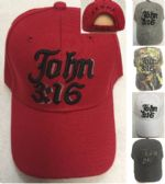 24 Units of John 3:16 Baseball Cap - Baseball Caps & Snap Backs