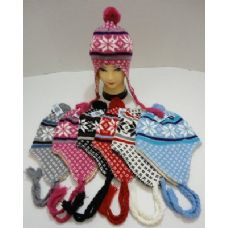 72 Units of Knit Cap with Ear Flap and PomPom-Snowflakes - Winter Helmet Hats