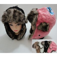 144 Units of Plush Bomber Hat with Fur Lining - Trapper Hats