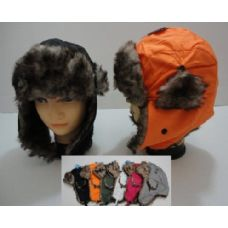 144 Units of Bomber Hat with Fur Lining--Solid Color - Trapper Hats
