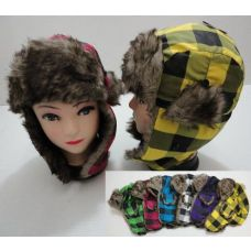 144 Units of Child's Bomber Hat with Fur Lining--Neon Plaid