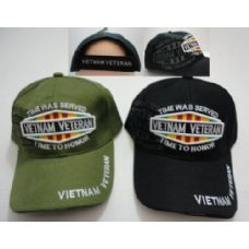 24 Units of Vietnam Veteran Hat w/ Shadow [TIME WAS SERVED-TIME TO HONOR] - Military Caps