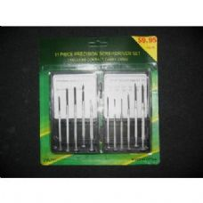 60 Units of 11 Piece Mini Screwdriver Set In Case - Screwdrivers and Sets