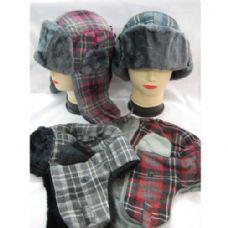 60 Units of Winter Plaid Pilot Hat - Trapper Hats