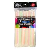 72 Units of Drinking Neon Straws Individual Wrap 100CT - Straws and Stirrers