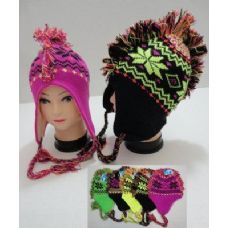 12 Units of Neon Knit Mohawk Hat with Ear Flap--Snowflakes - Fashion Winter Hats