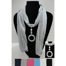 """72 Units of 68"""" Scarf Necklace-Ring Charm - Womens Fashion Scarves"""