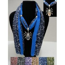 """72 Units of 70"""" Scarf Necklace--Solid Color/Animal Print--Spider Charm - Womens Fashion Scarves"""