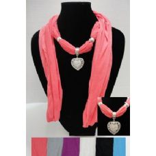 """12 Units of 70"""" Scarf Necklace-Heart Charm - Womens Fashion Scarves"""