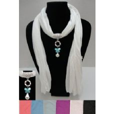 """12 Units of 72"""" Scarf Necklace-Butterfly/Pearl Charm - Womens Fashion Scarves"""