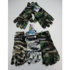 24 Units of Men's Camo Fleece Glove-Thermal Insulate - Fleece Gloves
