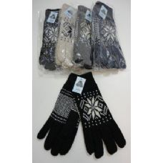72 Units of Men's Thermal Insulate Gloves--Snowflakes - Knitted Stretch Gloves