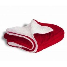 12 Units of Micro Mink Sherpa Blankets in Red